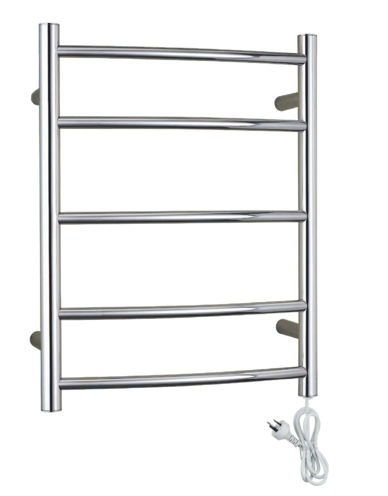 JOHNSON SUISSE HEATED TOWEL RAIL CURVED CHROME
