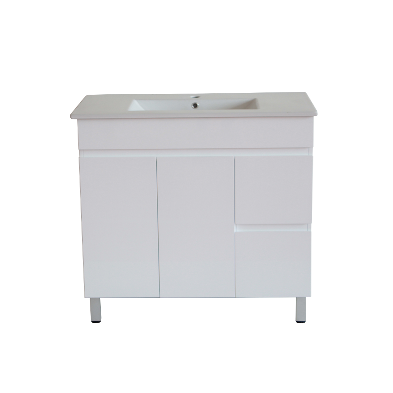INSPIRE 900MM FLOOR STANDARD VANITY WITH LEGS AND CERAMIC TOP