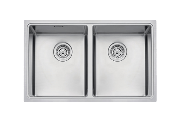 LINSOL QUADRUM DOUBLE BOWL 36L x 2 SINK (STAINLESS STEEL)