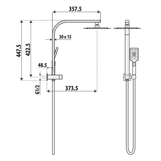 LINKWARE LIBERTY TWIN SHOWER SYSTEM CHROME