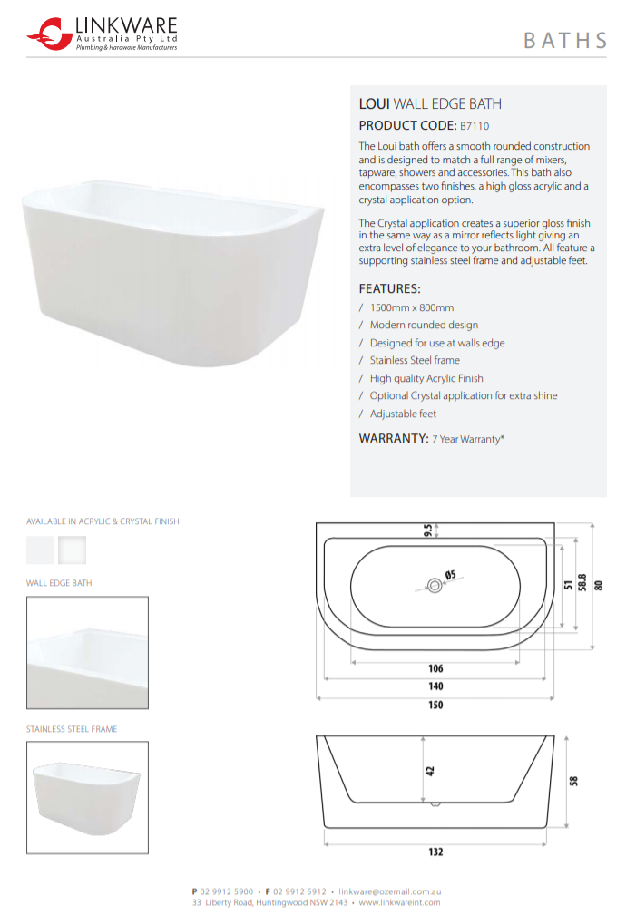 LINKWARE LOUI WALL EDGE BATH 1500MM