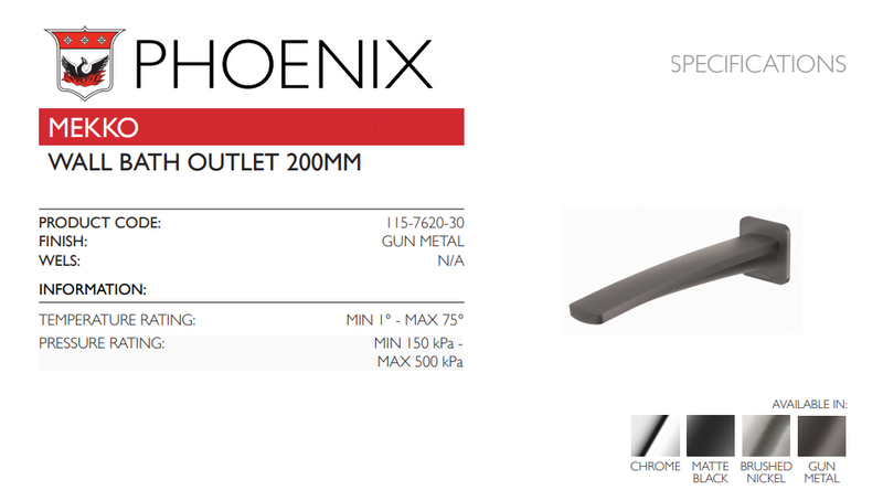 PHOENIX MEKKO WALL BATH OUTLET 200MM GUN METAL