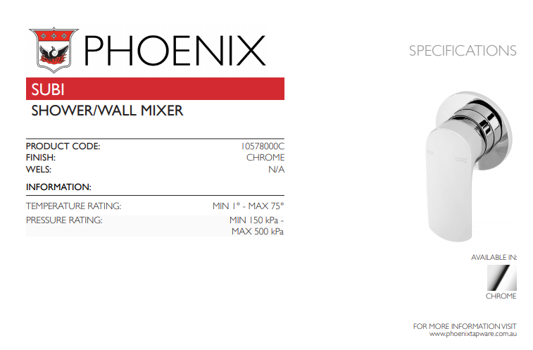 PHOENIX SUBI SHOWER WALL MIXER CHROME