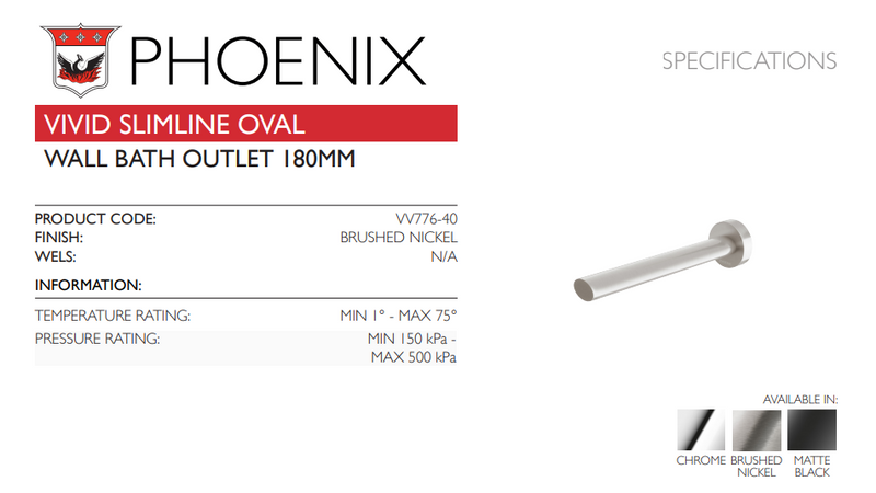 PHOENIX VIVID SLIMLINE OVAL WALL BATH OUTLET 180MM BRUSHED NICKEL