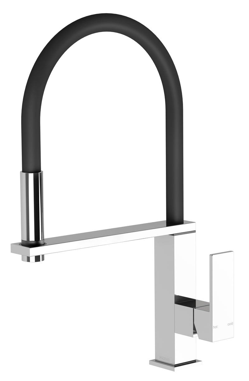 PHOENIX VEZZ FLEXIBLE HOSE SINK MIXER SQUARE BRUSHED NICKEL