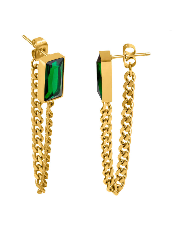 Gold Earrings with Green Stones Moneclat