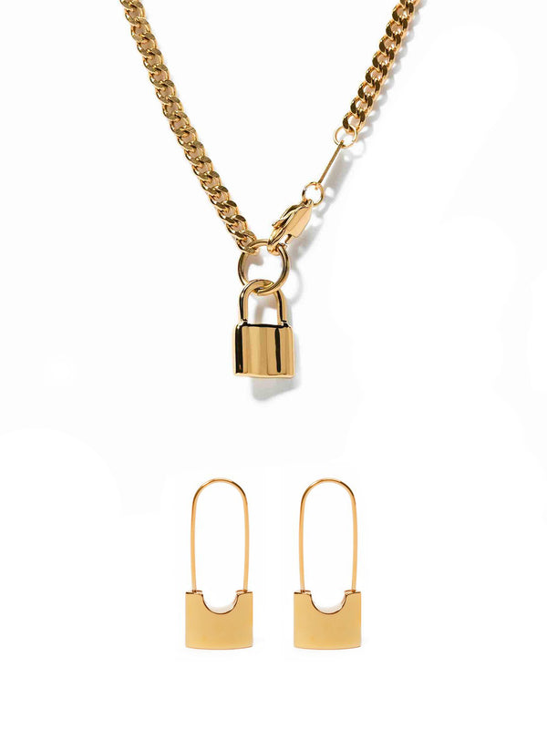 The Lock Set (Earrings + Necklace)