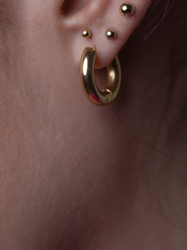 Small Xtra-Thick Gold Hoops
