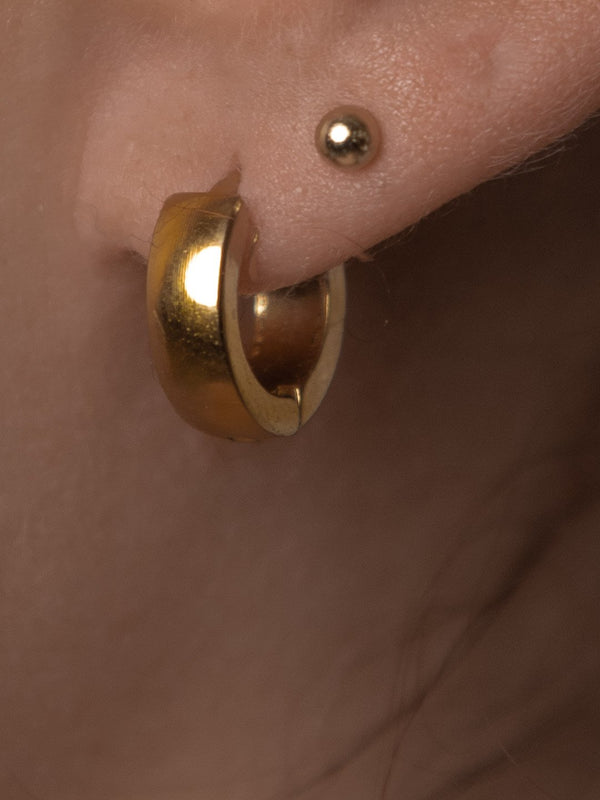Small Flat & Round Gold Hoops