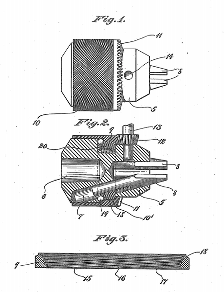 Jacobs Super Chuck Patent Drawings 1912