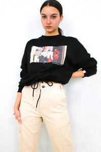 Bisous de Mamie-Cropped Black Sweatshirt