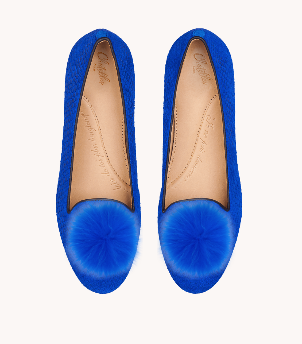 Chatelle- Honore Royal Blue Fishscaled Leather Slipper Flat