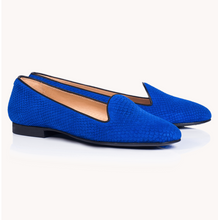 Load image into Gallery viewer, Chatelle- Honore Royal Blue Fishscaled Leather Slipper Flat