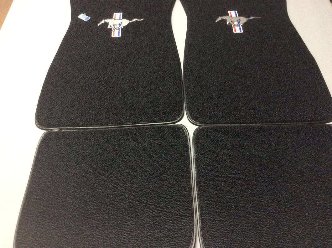 1965-73 Mustang Black  Carpeted Pony Logo Classic Loop Style 4 piece set Logo on Front Mats, Rear Mats Plain 4 Piece Set