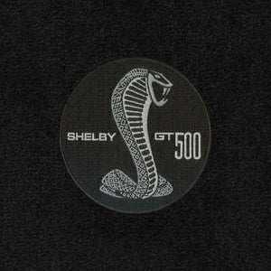 2007-2010 Shelby Floor Mats Black or Red with GT500 Round Cobra Snake Logo, Set of 4. Front Mats have Logo, rear mats are plain.