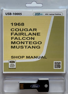 1968 Cougar, Fairlane, Falcon, Montego, Mustang Shop Manual on USB drive