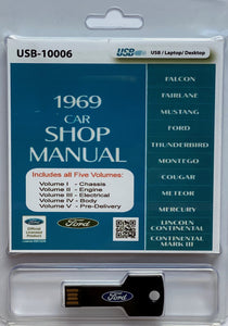 1969 Mustang, Falcon, Fairlane, Cougar, and other Ford Cars Shop Manual On USB Drive
