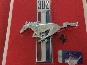 "1968 Mustang ""302"" Front Fender Emblem Running Pony & Bars Left"