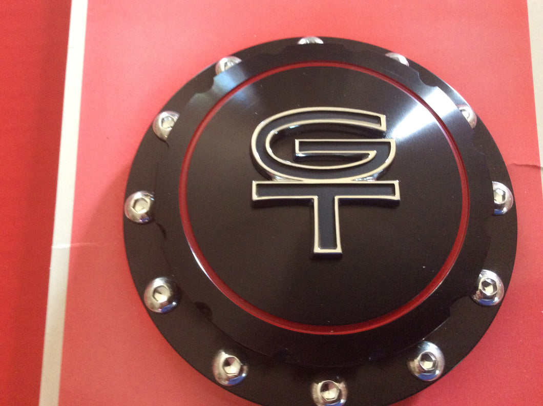 1965-1973 Mustang GT Billet Aluminum Gas Cap Twist On with Retaining Cable Black Finish