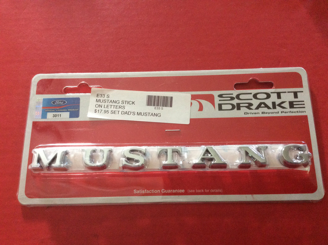 1965,66,1967-72 MUSTANG Chrome Letters Stick On for Front Fender and Trunk