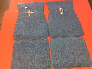 l1965-1973 Mustang Medium Blue Pony Floormats with Pony & Bars Logo on Front Mats and Rear mats are Plain, Set of 4. Original Color Used for 1966, 1967 &1968 Cars.