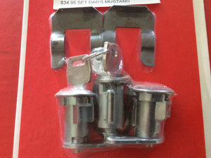 1967-1969 Mustang Lock Set 2 Doors and Ignition with 2 Ford Keys