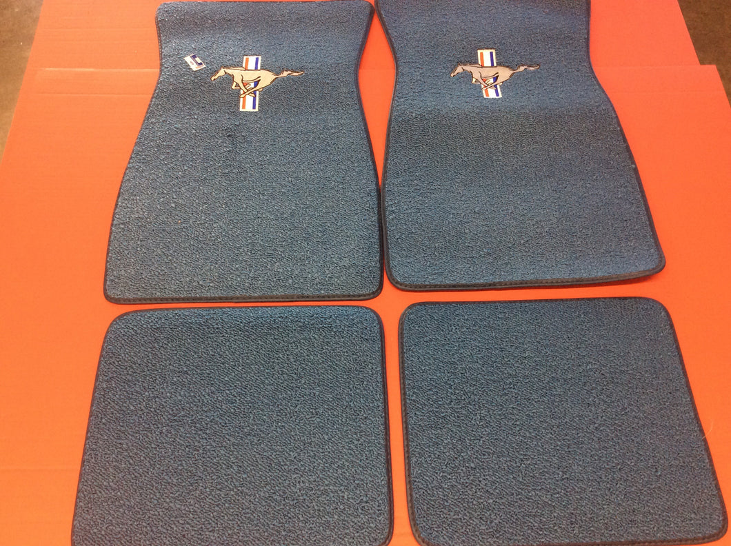 1965-73 Mustang Ford Blue Carpeted Floor Mats with Pony & Bars Logo on Front Mat and Plain Rear Mats 4 piece Set. Original Color used for 1965 Cars