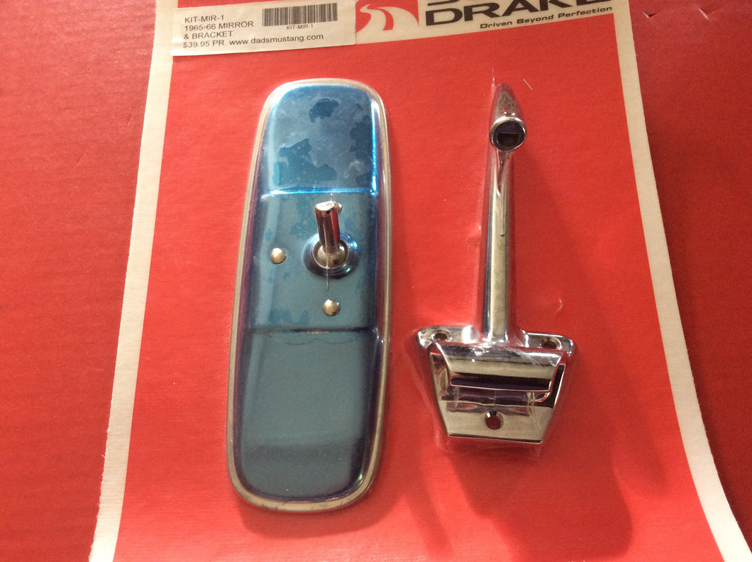 1965-1966 Mustang Rear View Mirror Arm Kit Chrome Bracket and Standard Mirror - More being shipped 09/15/20 Back in stock soon.