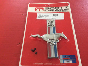 "1967-68  Mustang ""289"" Front Fender Emblem Running Pony & Bars Right"