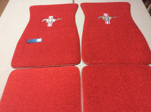 1965-1973 Mustang Red Carpeted Pony Logo Floormats with Pony Logo on Front Mats and Plain Rear Mats set of 4. These are Bright Red Original Color for 1965