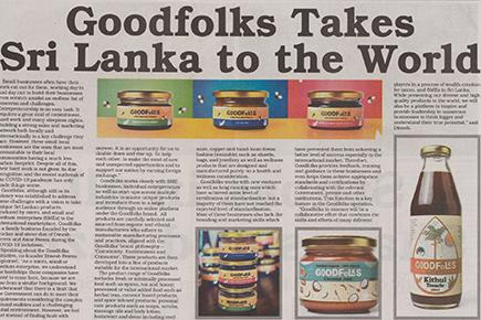Goodfolks Takes Sri Lanka to the world - Ceylon Today August 2020
