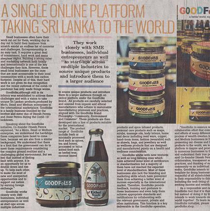 Goodfolks. Taking Sri Lanka to the world  - Daily Mirror - 29 August 2020