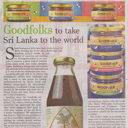 Goodfolks to take Sri Lanka to the world - Daily News 31 August 2020