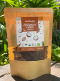 Goodfolks certified organic coconut chips with cocoa chocolate. Gluten free and vegan snack that is healthy and nutritious. Greenfield, good market, daraz, primefoodproducts