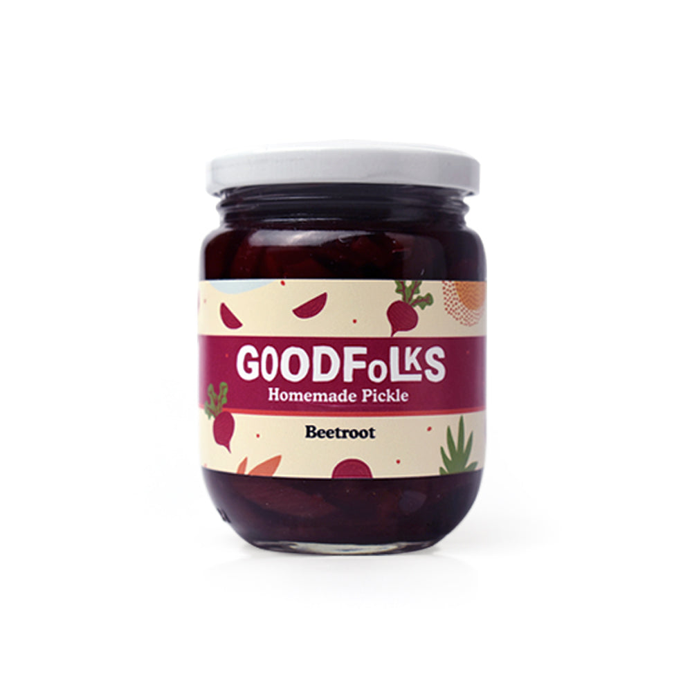 All natural homemade beetroot pickle is a made in Sri Lanka product. Homemade beetroot pickle from Goodfolks is ethical and organic and supports small communities and small business. Vegan Sri Lanka. Gluten free pickle with international delivery. Healthy food category.