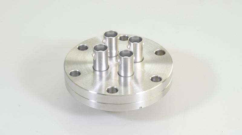 Custom Coaxial Hermetic Connector welded to ICF70 Flange by Globetech