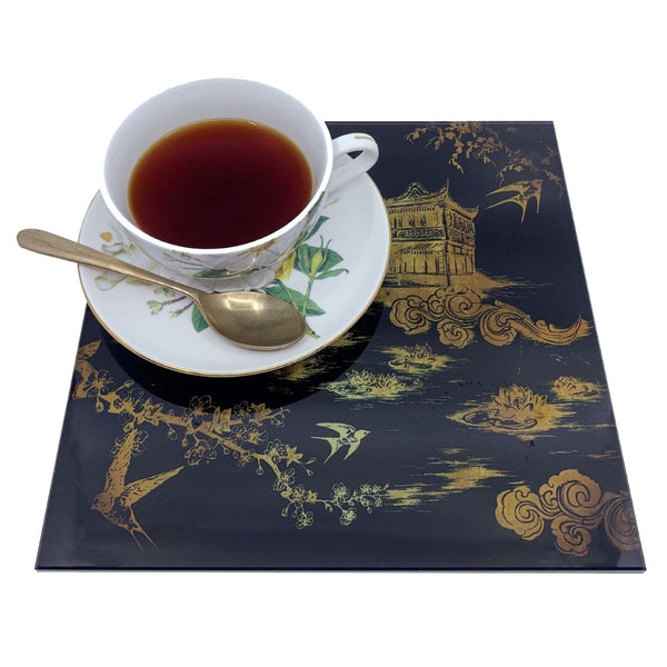 Tea House in Black Glass Trivet
