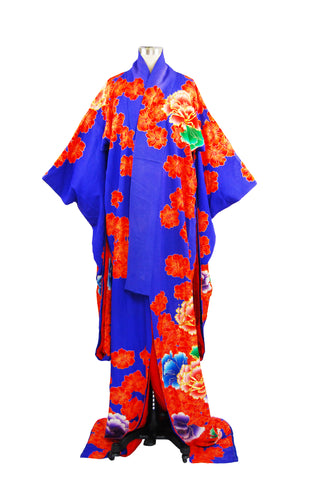 Vintage Red and Blue Kimono