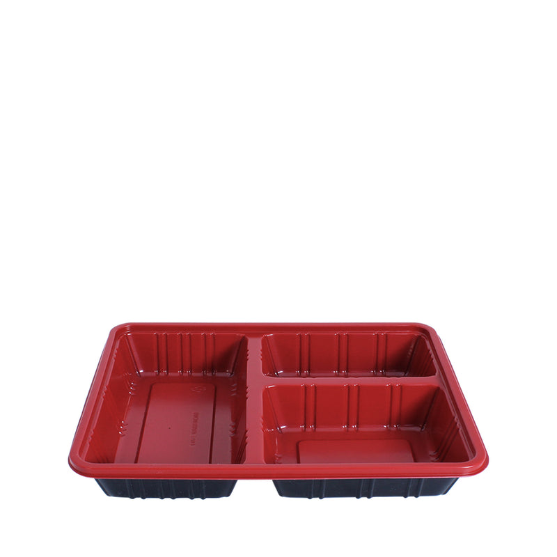 Bento Tray 3 Compartment Red Black with Lid 25set/pack (₱13.75/set) - CCH Packaging Machine Trading