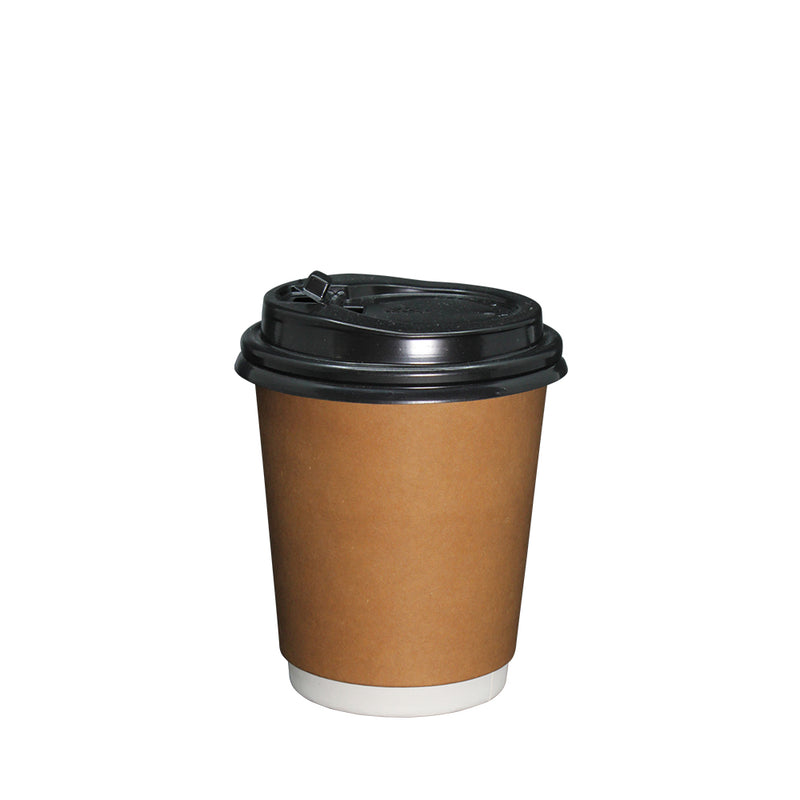 Coffee Cup Paper Double Wall Brown with lid 8oz 80mm Diameter 50pcs/pack (₱5.00 to ₱6.00/set) - CCH Packaging Machine Trading
