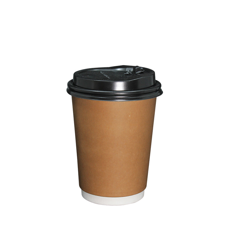 Coffee Cup Paper Double Wall Brown with lid 12oz 90mm Diameter 50pcs/pack (₱6.25 to ₱7.00/set) - CCH Packaging Machine Trading