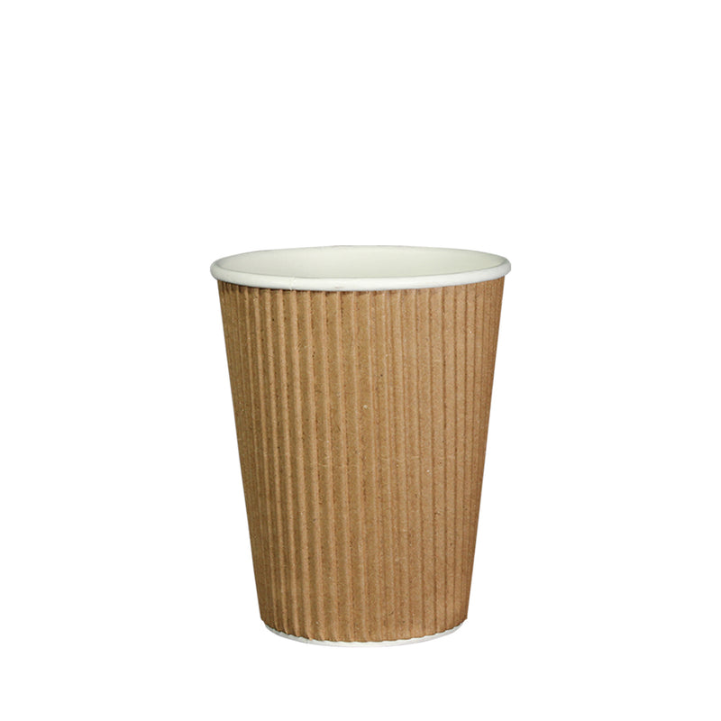 50pcs Double Wall Brown Ripple Paper Cup with lid 12oz 80mm Diameter - (₱6.25 to ₱7.00/set) - CCH Packaging Machine Trading