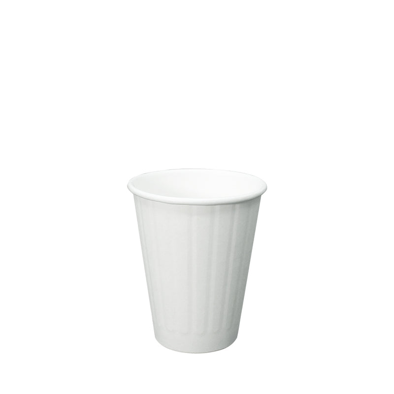 50pcs Double Wall White Paper Ribbed Cup with lid 8oz 80mm Diameter - (₱5.00 to ₱6.00/set) - CCH Packaging Machine Trading