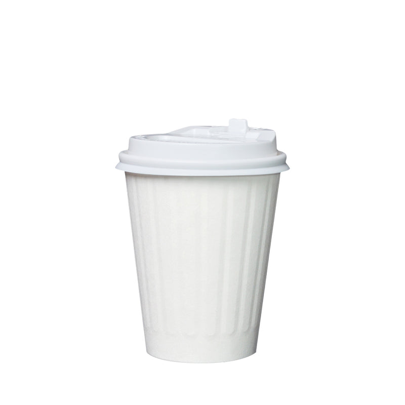 50pcs Double Wall White Paper Ribbed Cup with lid 12oz 90mm Diameter - (₱6.25 to ₱7.00/set) - CCH Packaging Machine Trading