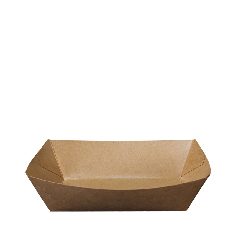 Paper Food Tray PT203 Brown Kraft 500ml Boat Shape 100pcs/pack - (₱5.10/piece) - CCH Packaging Machine Trading