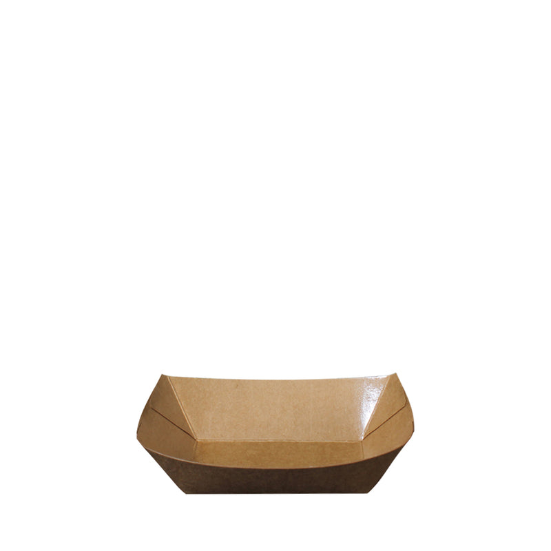 Paper Food Tray PT201 Brown Kraft Boat Shape 200ml 250pcs/pack (₱3.25/piece) - CCH Packaging Machine Trading