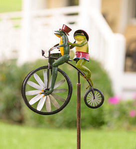 Frogs on a Vintage Bicycle Metal Wind Spinner
