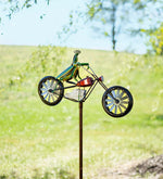 Load image into Gallery viewer, Frogs on a Vintage Bicycle Metal Wind Spinner