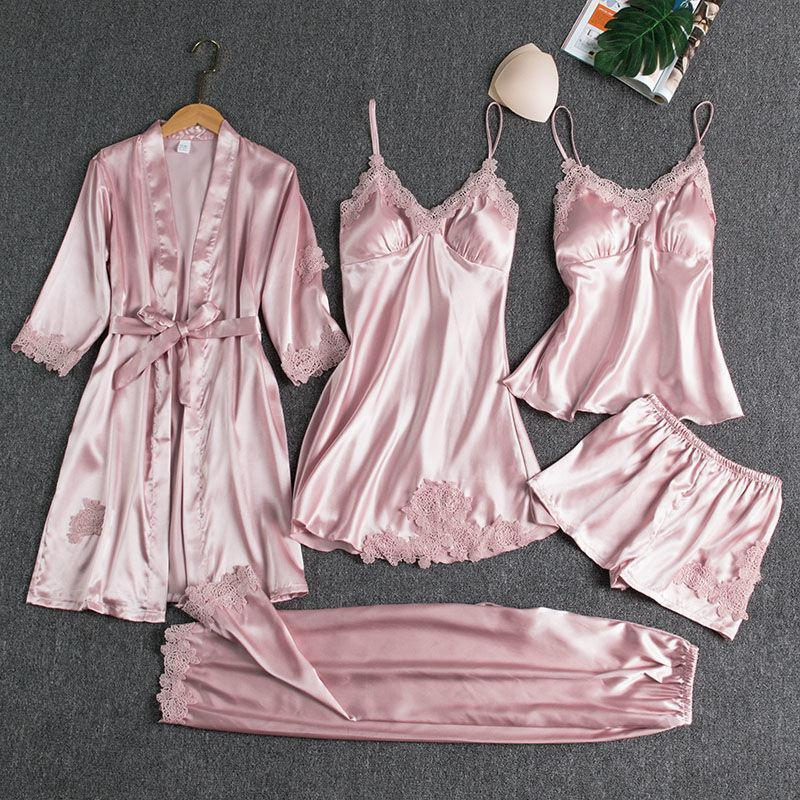 Blushy Silk 5 Piece Pajama Set