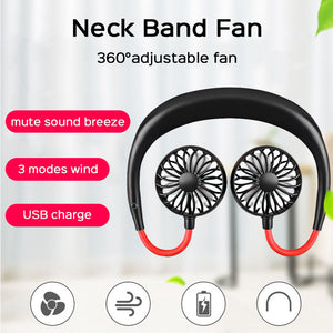 Hands-free Neck Band USB Fan Portable 360 Degree Adjustable 3 Modes Wind Mini USB Fan Hanging Air USB Cooler Fan For Sports